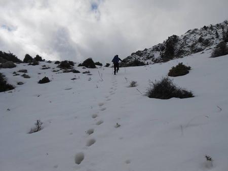 Ανεβάινοντας Από τη στάνη προς το διάσελο σε χιονισμένο πεδίο