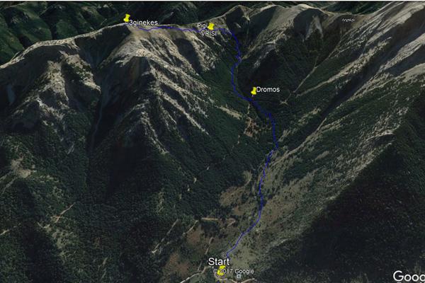 Η διαδρομή στο Google Earth
